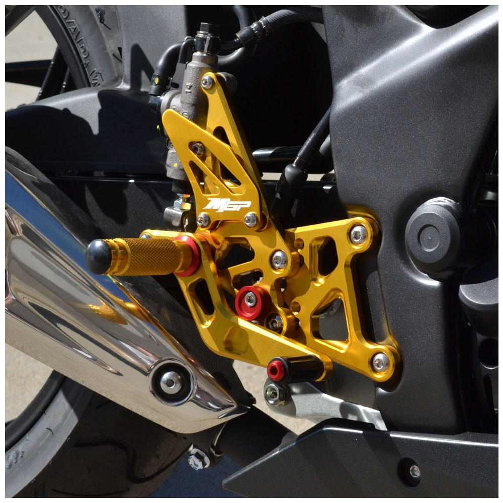 Hotbodies Racing MGP Rear Sets - Gold Title_2 2011-2016 Honda CBR250R, CBR300R - 41102-2501