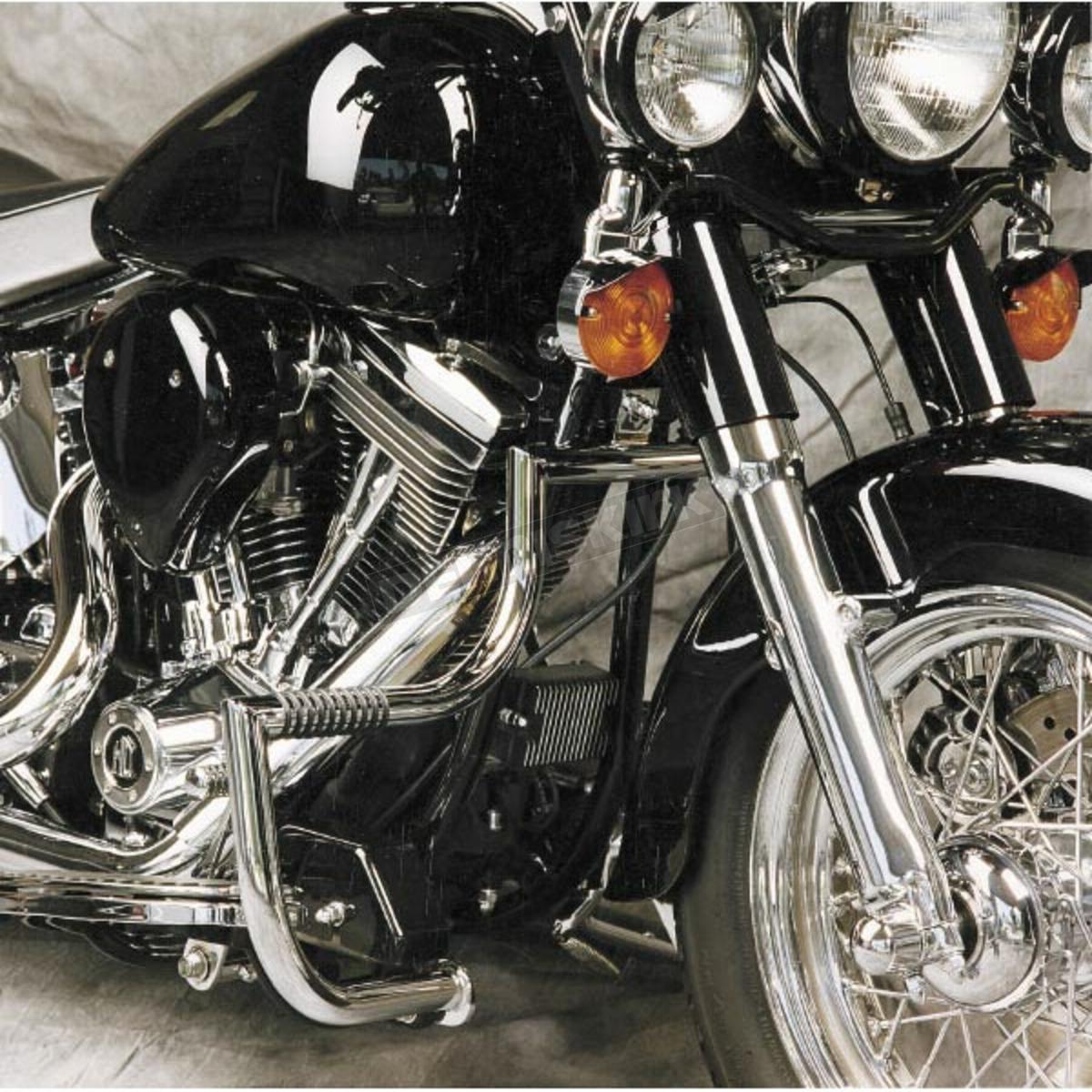 Lindby Linbar Crash Bars 1991-2018 Harley Davidson Dyna Models (With Mid  Controls) - Chrome