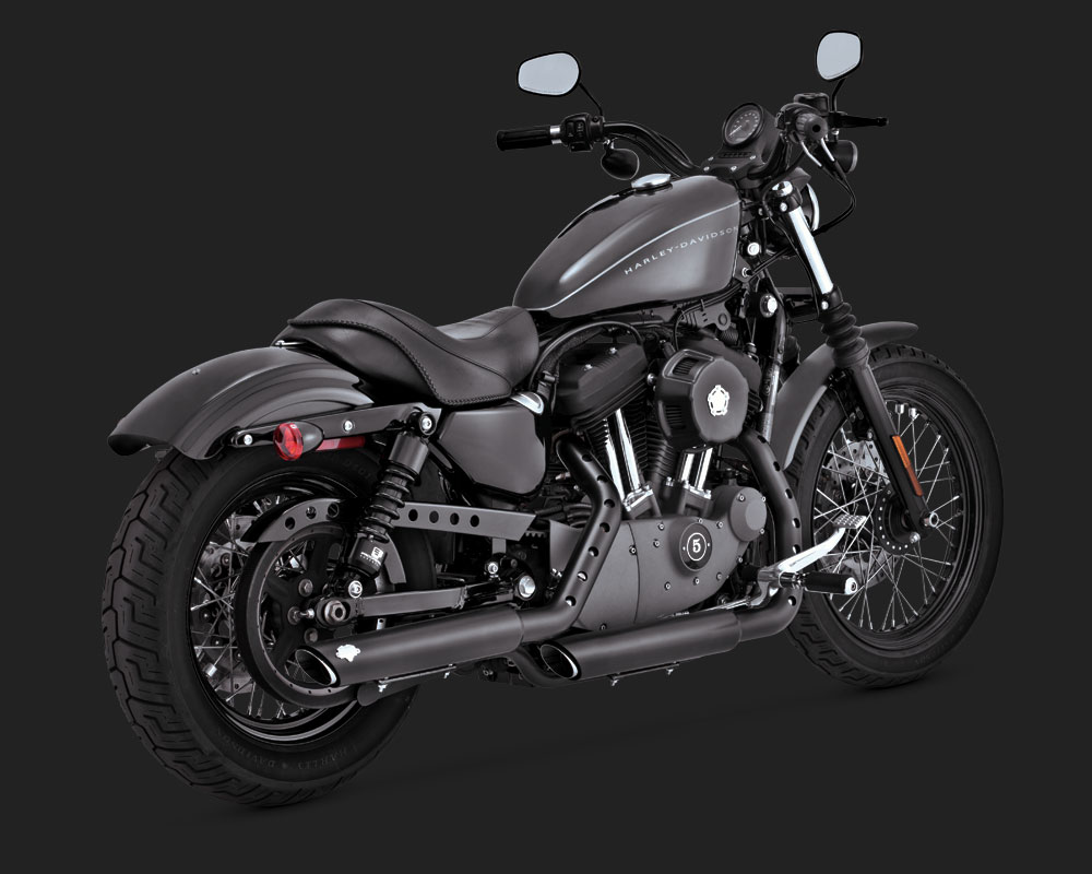 "Cycle Parts Nation >> Vance & Hines Twinslash 3"" Slip-Ons Exhaust Black Harley Davidson Sportster - 46861"