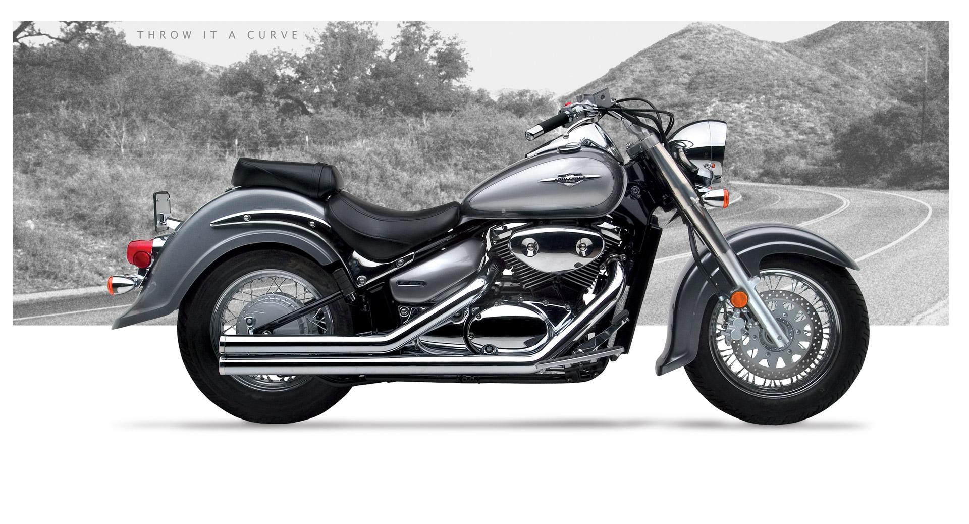 Hard Krome American Clic 2 Exhaust Chrome 2002-2014 Suzuki C50 ...
