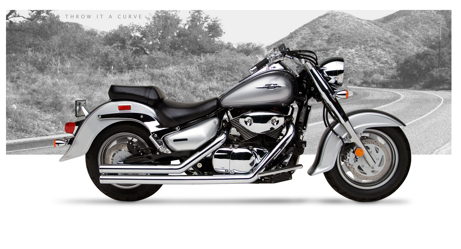Hard Krome American Clic 2 Exhaust Chrome 2005-2009 Suzuki C90 ...